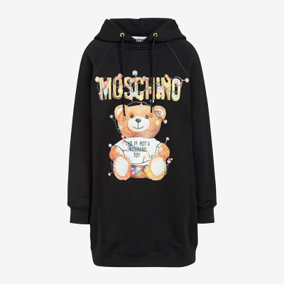 Moschino Christmas Teddy Women Long Sleeves Fleece Dress Black