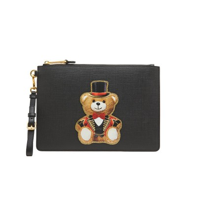 Moschino Circus Teddy Women Leather Clutch Black