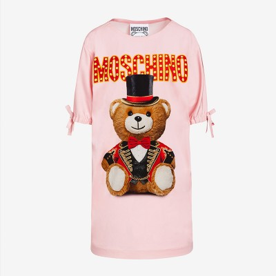 Moschino Circus Teddy Women Short Sleeves Short Dress Pink