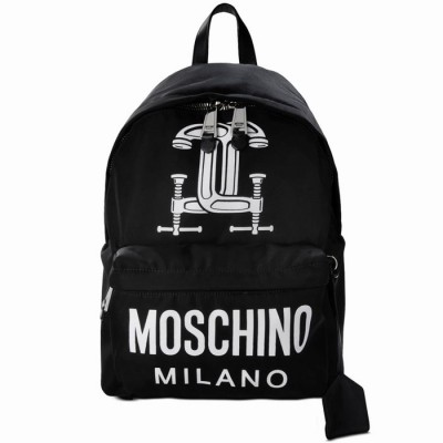 Moschino Clamp Marks Women Large Techno Fabric Backpack Black