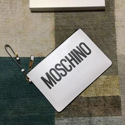 Moschino Contrasting Logo Women Leather Clutch White