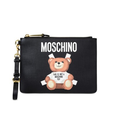 Moschino Cross Bear Women Leather Clutch Black