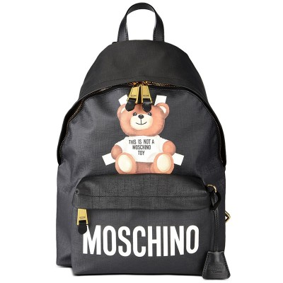 Moschino Cross Bear Women Large Leather Backpack Black