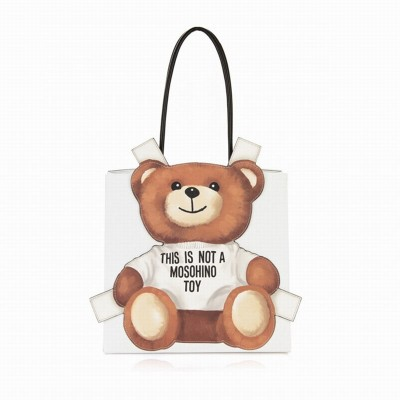 Moschino Cross Bear Women Leather Tote White
