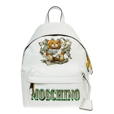 Moschino Dollar Teddy Bear Women Leather Backpack White