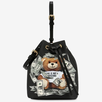 Moschino Dollar Teddy Bear Women Leather Bucket Bag Black