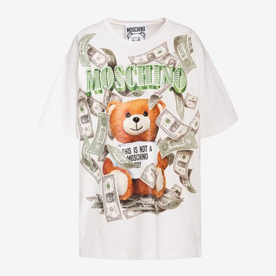 Moschino Dollar Teddy Bear Women Short Sleeves T-Shirt White
