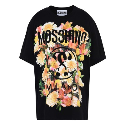 Moschino Floral Question Women Short Sleeves T-Shirt Black