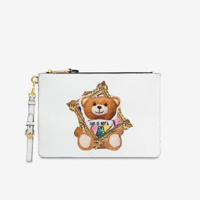 Moschino Frame Teddy Bear Women Leather Clutch White