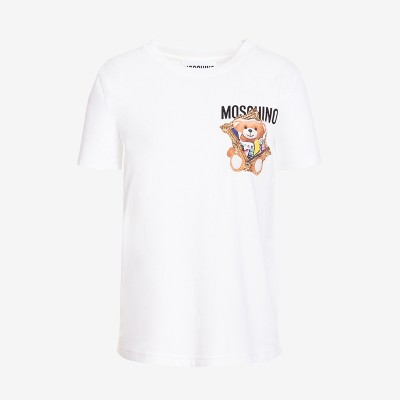 Moschino Frame Teddy Bear Women Short Sleeves Slim T-Shirt White
