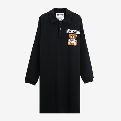 Moschino Furry Teddy Bear Women Long Sleeves Polo Dress Black