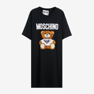 Moschino Furry Teddy Bear Women Short Sleeves Short Dress Black
