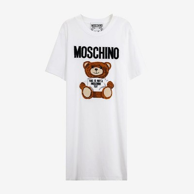 Moschino Furry Teddy Bear Women Short Sleeves Short Dress White