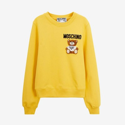 Moschino Furry Teddy Bear Women Long Sleeves Sweater Yellow