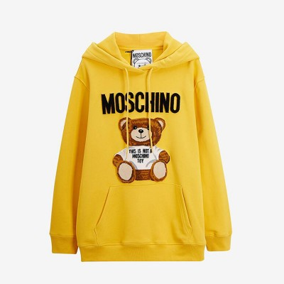 Moschino Furry Teddy Bear Women Long Sleeves Sweatshirt Yellow