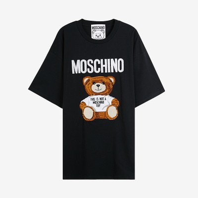 Moschino Furry Teddy Bear Women Short Sleeves T-Shirt Black