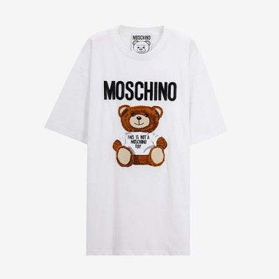 Moschino Furry Teddy Bear Women Short Sleeves T-Shirt White