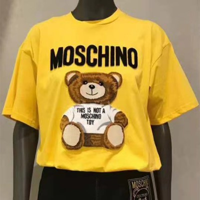 Moschino Furry Teddy Bear Women Short Sleeves T-Shirt Yellow