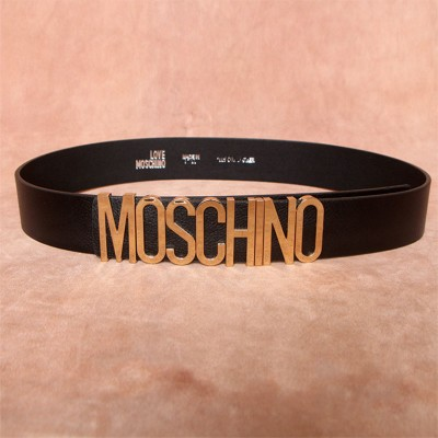 Moschino Logo Buckle Women Large Cow Leather Belt Black