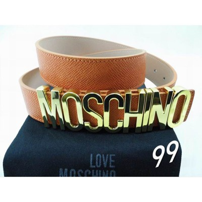 Moschino Logo Buckle Women Large Embossed Leather Belt Brown