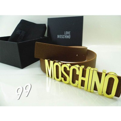 Moschino Logo Buckle Women Large Embossed Leather Belt Coffee