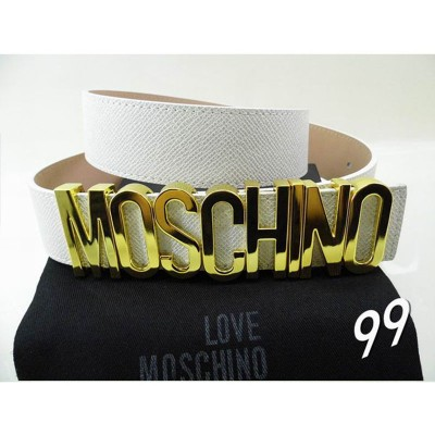 Moschino Logo Buckle Women Large Embossed Leather Belt White