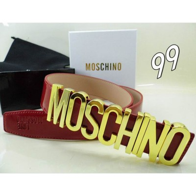 Moschino Logo Buckle Women Large Patent Leather Belt Red