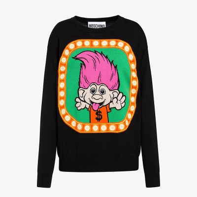 Moschino Good Luck Trolls Women Long Sleeves Sweater Black/Green