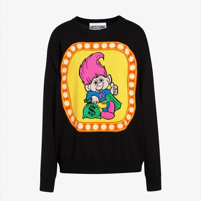 Moschino Good Luck Trolls Women Long Sleeves Sweater Black/Orange