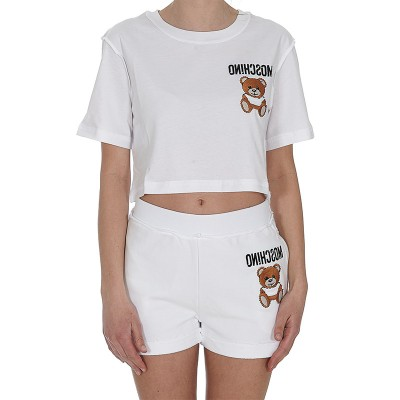 Moschino Inside Out Teddy Bear Women Short Sleeves Cropped T-Shirt White