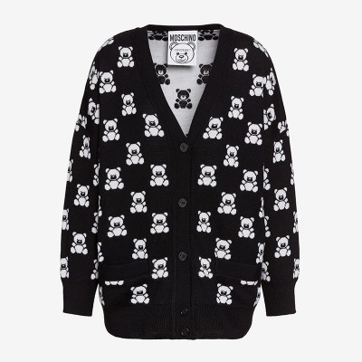Moschino Jacquard Teddy Bear Women Long Sleeves Cardigan Black
