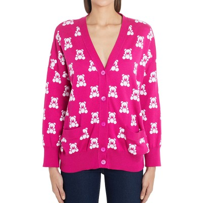 Moschino Jacquard Teddy Bear Women Long Sleeves Cardigan Rose