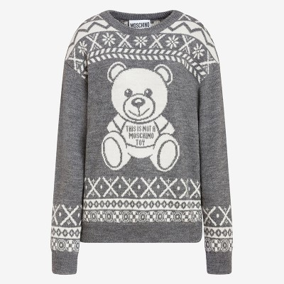 Moschino Jacquard Teddy Bear Women Long Sleeves Pullover Grey