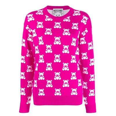 Moschino Jacquard Teddy Bear Women Long Sleeves Sweater Rose