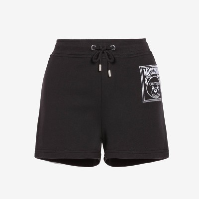 Moschino Label Teddy Bear Women Cotton Fleece Shorts Black