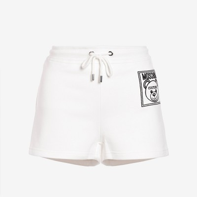 Moschino Label Teddy Bear Women Cotton Fleece Shorts White