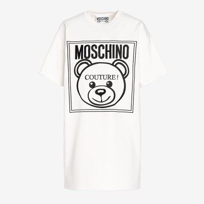 Moschino Label Teddy Bear Women Short Sleeves Short Dress White