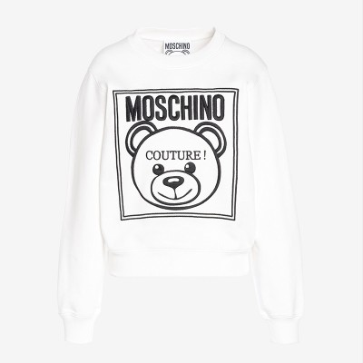 Moschino Label Teddy Bear Women Long Sleeves Sweater White