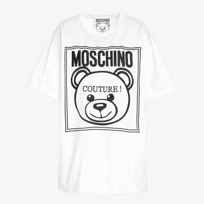 Moschino Label Teddy Bear Women Short Sleeves T-Shirt White