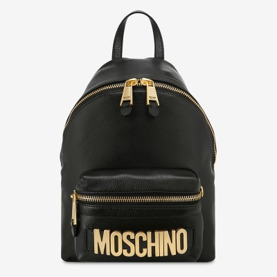 Moschino Lettering Logo Women Medium Leather Backpack Black