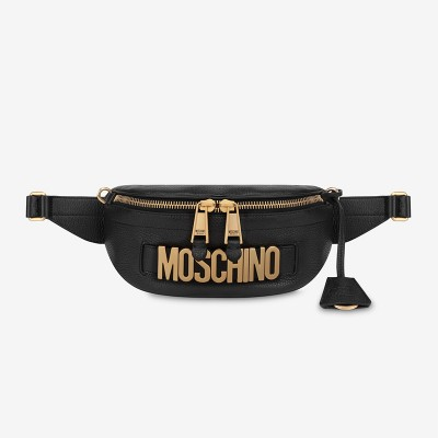 Moschino Lettering Logo Women Leather Belt Bag Black
