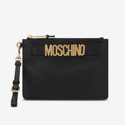 Moschino Lettering Logo Women Leather Clutch Black