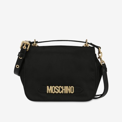 Moschino Lettering Logo Women Small Nylon Shoulder Bag Black