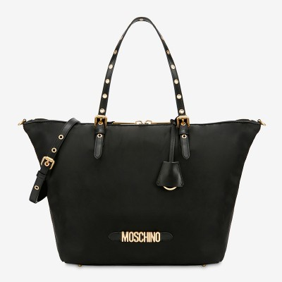 Moschino Lettering Logo Women Large Nylon Shopper Tote Black