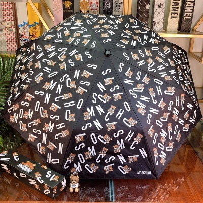 Moschino Letters Bears Women Mini Umbrella Black