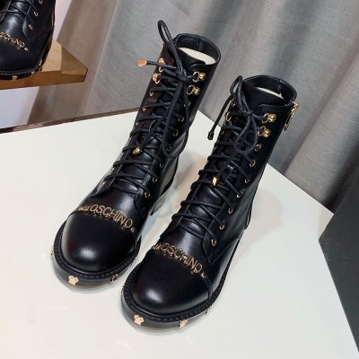 Moschino Logo Women Leather Mid Top Combat Boots Black