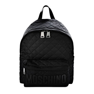 Moschino Logo Women Quilted Techno Fabric Backpack Black