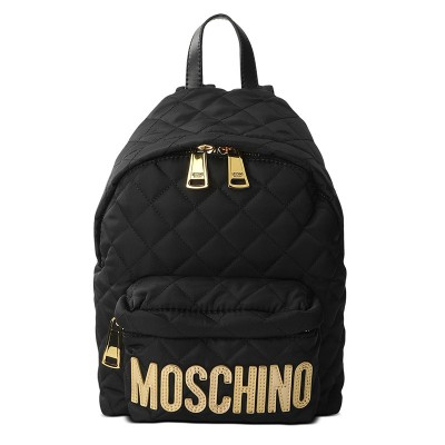 Moschino Logo Women Quilted Techno Fabric Backpack Black/Gold