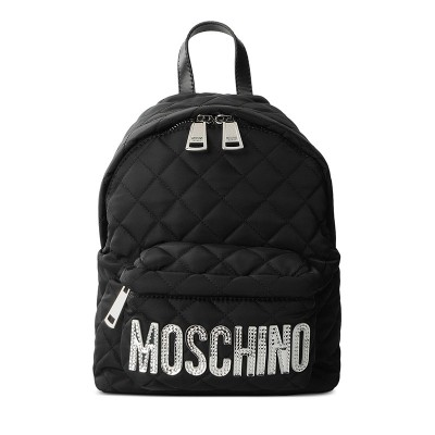 Moschino Logo Women Quilted Techno Fabric Backpack Black/Silver