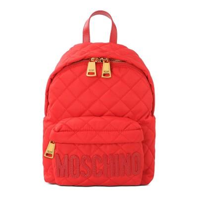 Moschino Logo Women Quilted Techno Fabric Backpack Red